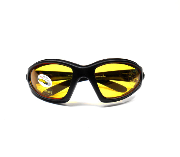 Black Vented Motorcycle Goggles Yellow Night Vision Lens