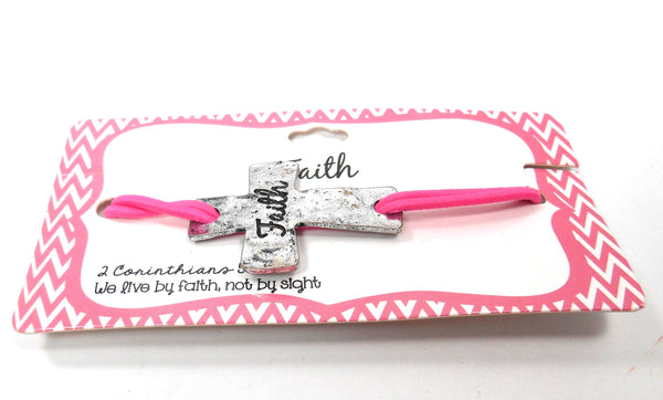 Demdaco Faith Cross Pink Elastic Bracelet