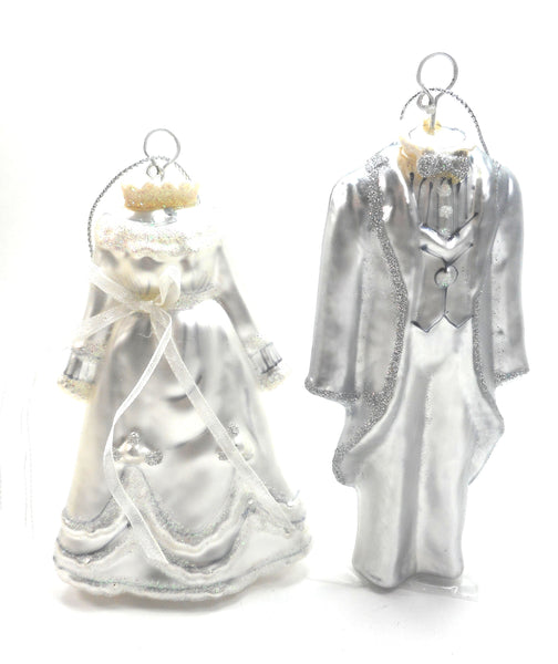 Bride and Groom Hand Blown Glass Christmas Ornaments Set of 2