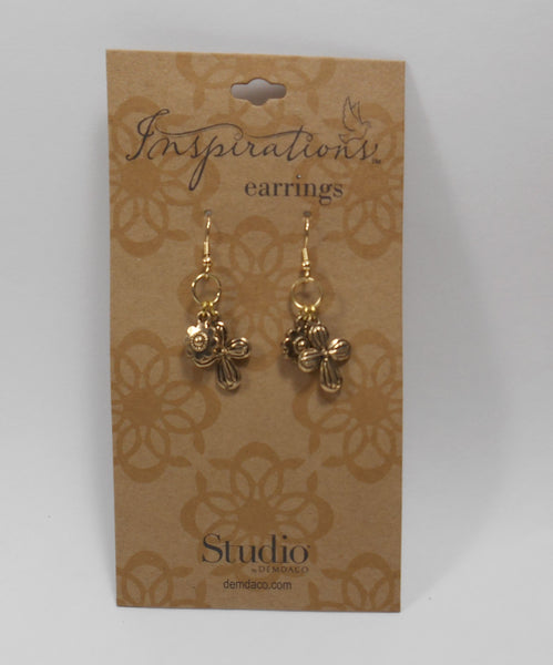 Studio by Demdaco Inspirations  Cross with Flowers Earrings