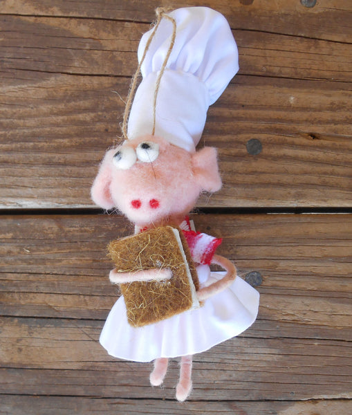 Girl Pink Pig Chef with Baguet Ornament