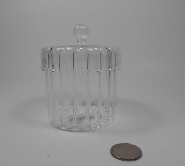 Ganz Clear Ribbed Candy Jar in White Gift Box 3 1/8 Inches high