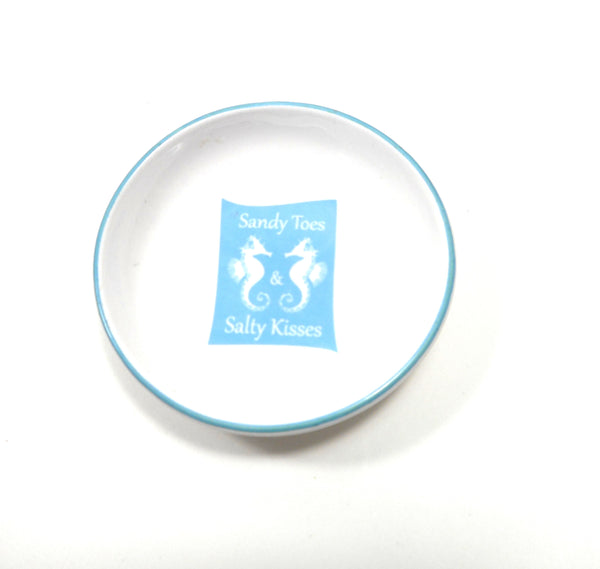 Sandy Toes and Salty Kisses Blue Seahorse Trinket Dish