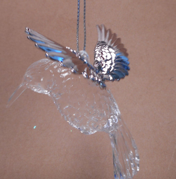 Silver Winged Acrylic Hummingbird Ornament  by Silver Tree