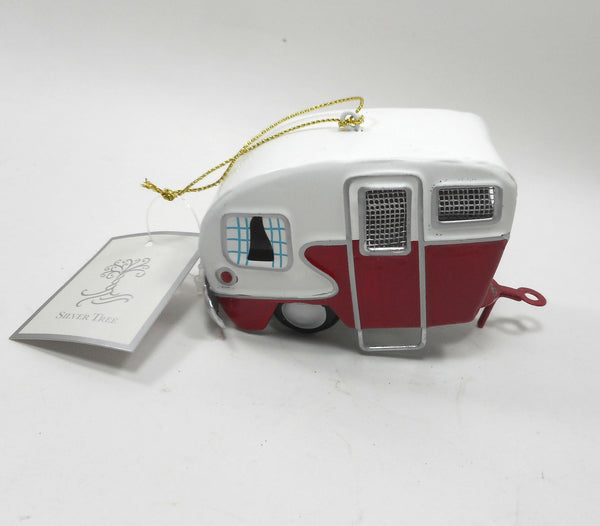Red and White Tin Camper Ornament camping
