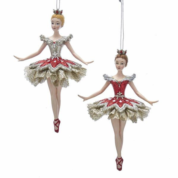 Ruby and Platinum Ballerina Ornaments 2 Assorted