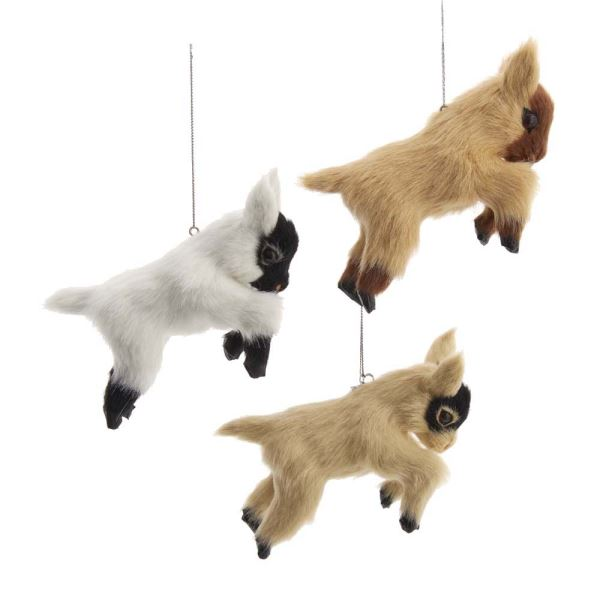 Kurt Adler Furry Goat Ornaments Set of 3