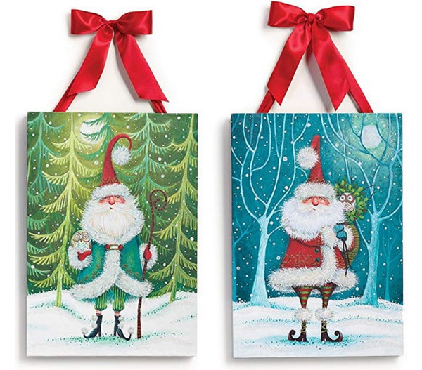 Demdaco Frameless BoHoHo Santa Wall Art - Set of 2  Boho Santa