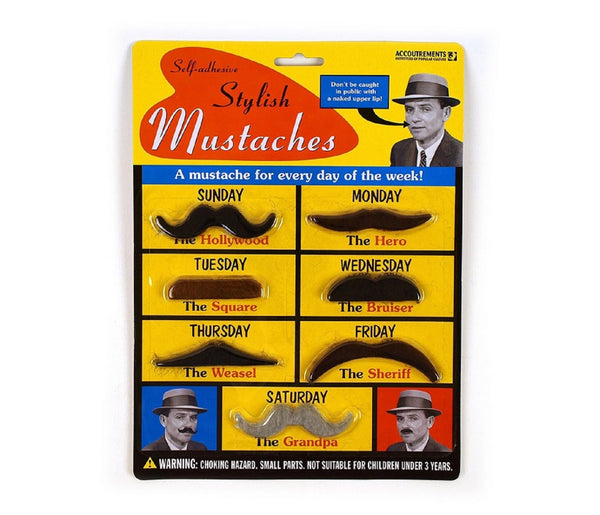 7 Fake Stick On Costume Mustaches by Accoutrements