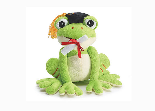 Graduation Green Frog Plush with Cap and Diploma Balloon Holder