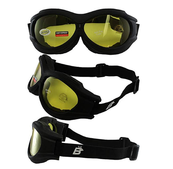 Birdz Buzzard  Motorcycle Goggle Fits Over Glasses With Yellow Lens