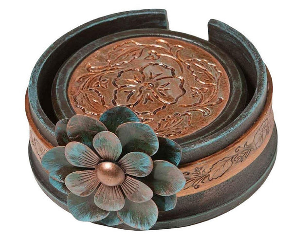 Big Sky Carvers Prairie Rose Coaster Set