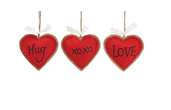 Burton and Burton Set of 3 Red Burlap Heart Shaped Ornaments