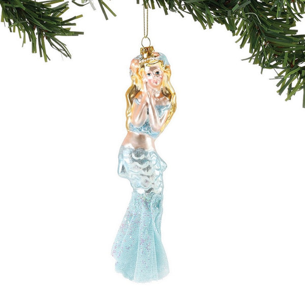 Dept 56 Blue Beaded Mermaid Ornament Coastal Collection