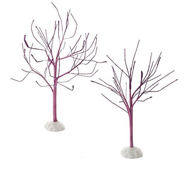 Halloween Snow Village Accessories Purple Sparkle Trees Set of 2