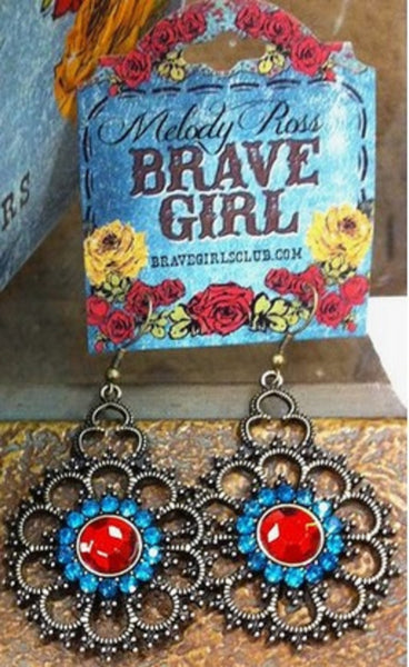 Melody Ross Brave Girl Blue Red Dangle Earrings