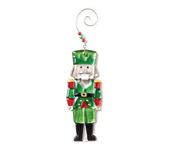 Demdaco Glass Fusion Green Pressed Glass Nutcracker Christmas Ornament