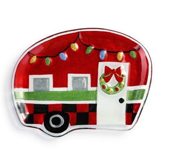 Demdaco Pressed Glass Red and White Holiday Camper Plate