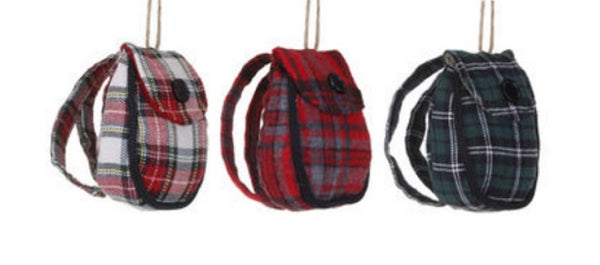 Silvestri Winter Plaid Back Pack Ornaments Choice of 3 - Pick one.