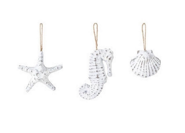 Silvestri White Sea Star Seahorse and Sea Shell Ornaments set of 3 Whitewashed