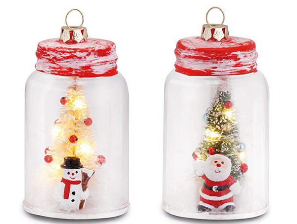 Holiday Light Up  Mason Jar Ornaments Santa and Snowman Set