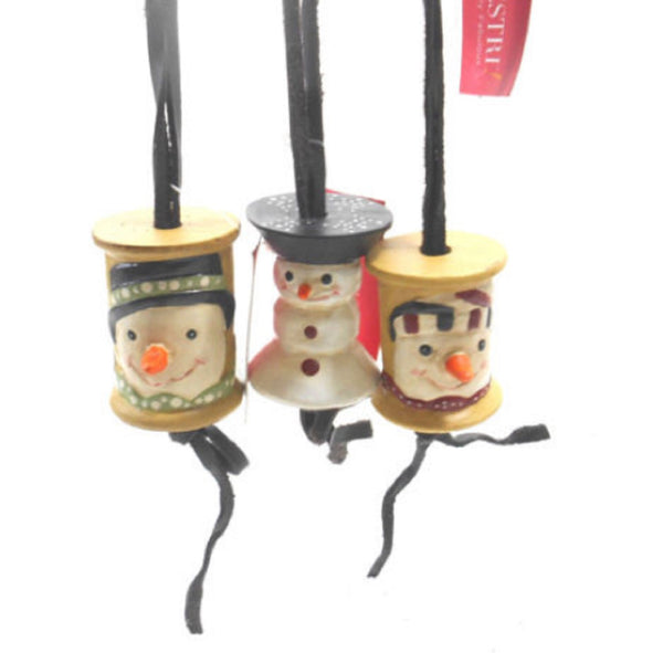 Silvestri Sewing Ornament Snowman Sewing Spool Ornaments Set of 3