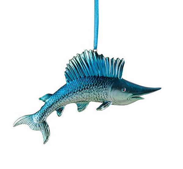 Gallarie II Iridescent Blue Swordfish Ornament