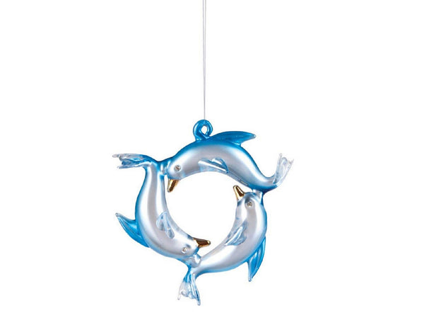 Gallarie II Blue Dolphin Wreath Glass Coastal Ornament
