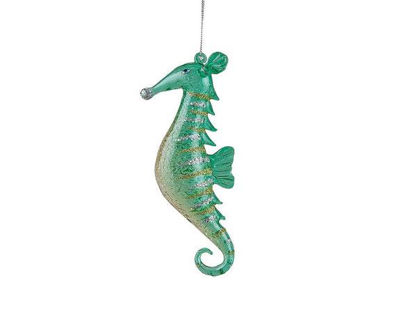 Gallarie II Green Glass Seahorse Ornament