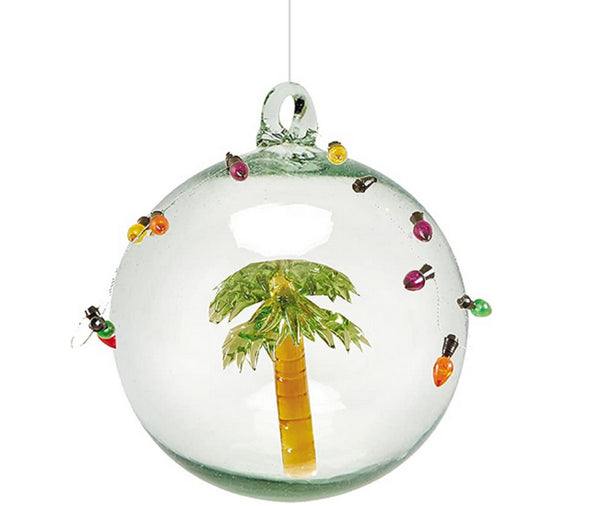 Gallarie II Decorated Palm Tree Ball Glass Christmas Ornament