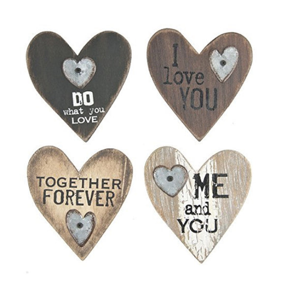 "Ganz 4"" Wooden Love Heart Kitchen Magnets Set of 4 New!"