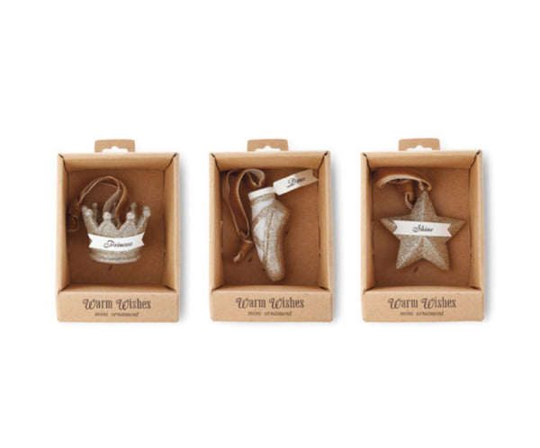 A Gilded Life Glittered Princess Christmas Ornament Set