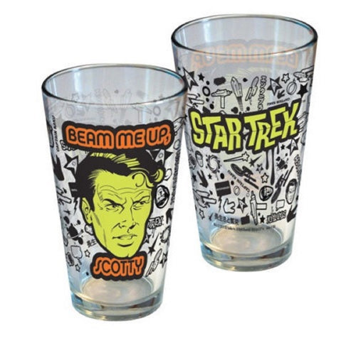 Licensed Beer Glass  - Star Trek Beam Me Up Scotty Glass Pint Glass