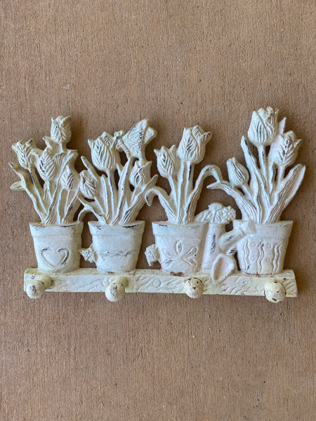 Shabby Cast Iron Tulips in Pots 4 Hook Wall Hook