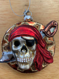 Pirate Skull Coin Glass Christmas Ornament