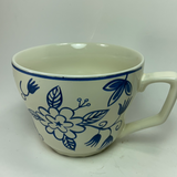 Ikea 161 14 Blue and Cream Floral Tea Cup Coffee Mug Ceramic