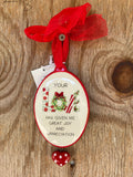 Your Love has Given Me Great Joy and Appreciation Christmas Ornament
