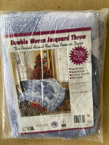 Double Woven jacquard Throw By Mohawk Home Made for KMART Made in USA New
