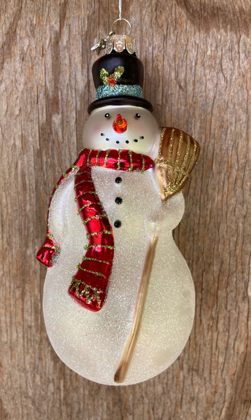 Midwest CBK Traditional White Glass Snowman Ornament