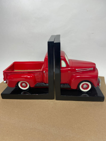 1948 Red Ford Pick Up Truck Bookends