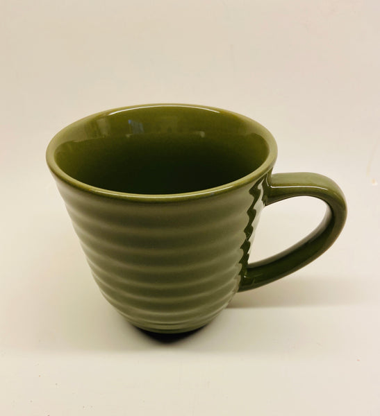 Mainstays Green Ribbed Classic Stoneware 14 Oz coffee Mug