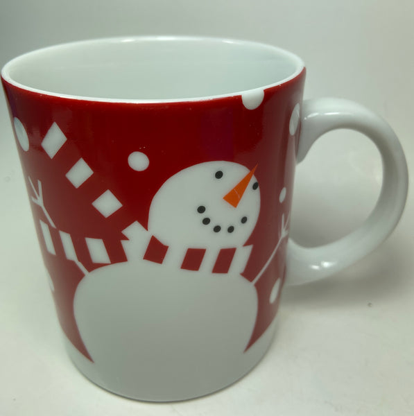 Crate and Barrel Red And White Snowman Porcelain Mug