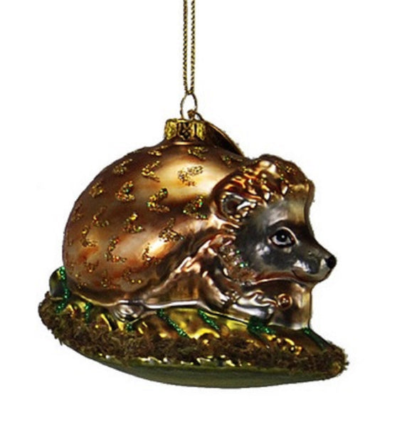 Katherines Collection Brown Hedgehog Glass Ornament