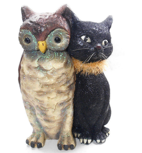KD Vintage Halloween Owl and Black Cat Figurine F285
