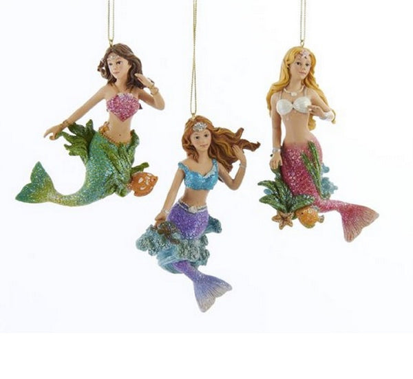 Mermaids with Seaweed Christmas Holiday Ornaments Set of 3 by Kurt Adler