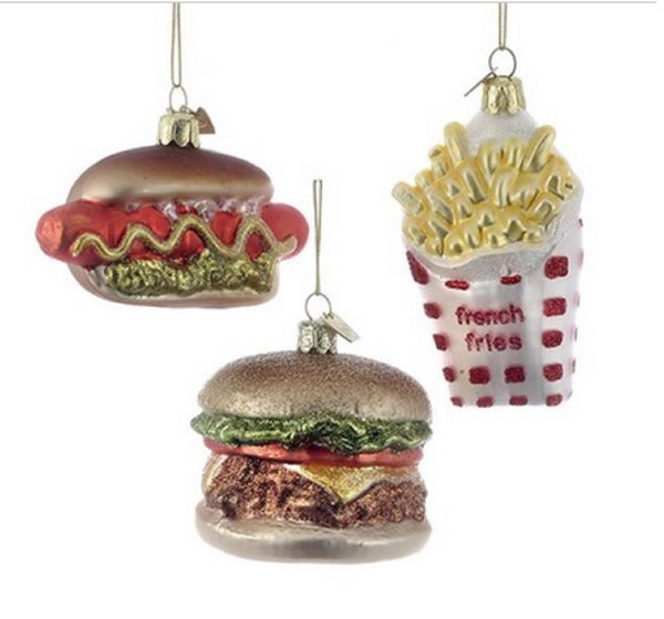 Noble Gems™ Fast Food Glass Ornaments, Hot Dog, Hamburger, French Fries, Your Choice by Kurt Adler