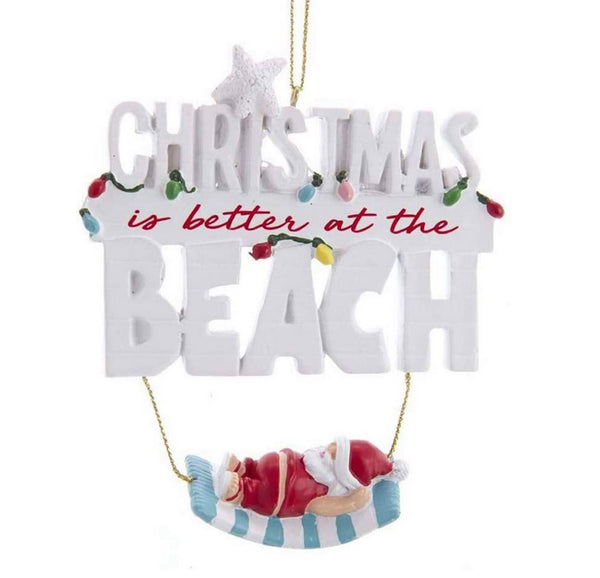 Kurt Adler Christmas is Better at the Beach Santa Hammock Resin Ornament