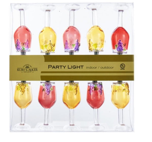 Kurt Adler Wine Glass String Lights