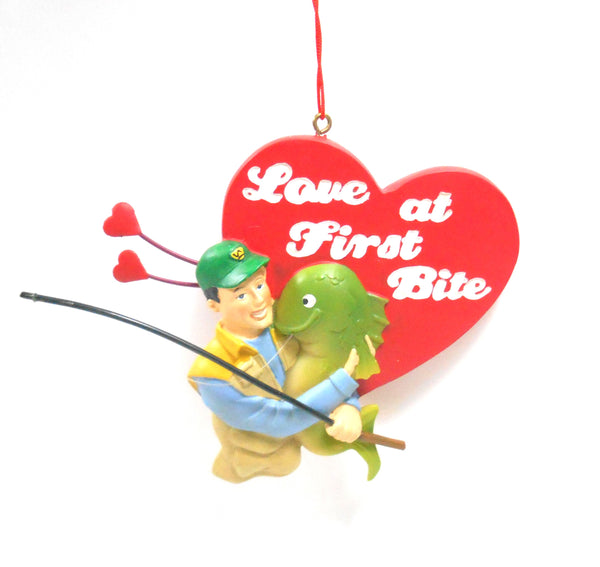 Love at First Bite Red Heart with Big Fish Ornament  Gift