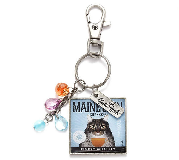 Demdaco Coffee Company Maine Coon Cat Keychain